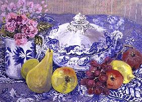 The Blue and White Tureen with Fruit (w/c)