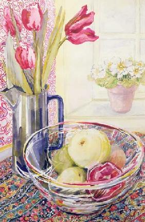 Tulips with Fruit in a Glass Bowl (w/c)