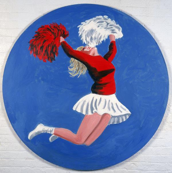 Cheerleader Tondo, 2001 (oil on canvas)
