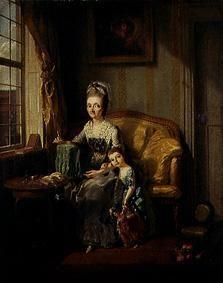 Woman in the room with child and doll