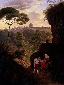 Wandering couple on the Monte Mario with a view of Rome and St. Peter