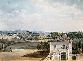 View of the villa Poniatowski against the villa Borghese and the Sabiner mountain