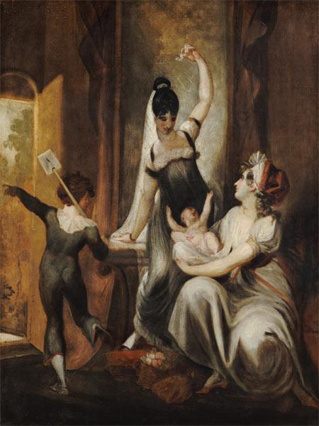 A mother with her children in the country