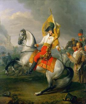 Archduke Charles with the standard of the Zach regiment at
