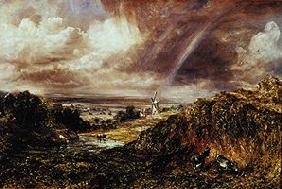 Landscape with mill and rainbows