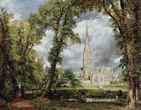 The cathedral seen by Salisbury from the garden of the bishop 1823