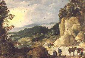 A Mountain Landscape with a Waterfall and Travellers at a Ford