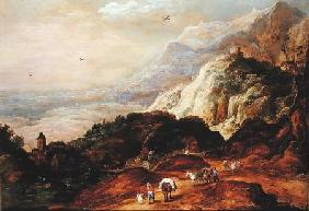 A Mountainous Landscape with Figures and Mules