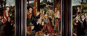 Winged altar adoration of the kings and Hieronymus and Catherine with the donors
