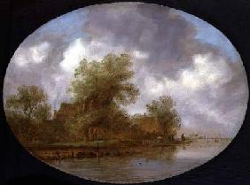 A River Landscape with Fishermen Hauling in Nets