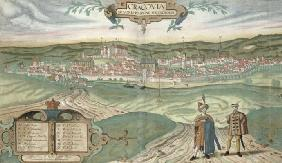 Map of Cracow, from 'Civitates Orbis Terrarum' by Georg Braun (1541-1622) and Frans Hogenberg (1535-
