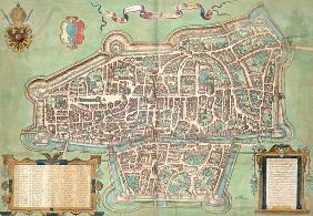 Map of Augsburg, from 'Civitates Orbis Terrarum' by Georg Braun (1541-1622) and Frans Hogenberg (153