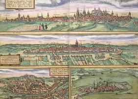 Map of Nurenburg, Ulm, and Saltzburg, from 'Civitates Orbis Terrarum' by Georg Braun (1541-1622) and