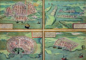 Map of Calais, Malta, Rhodes, and Famagusta, from 'Civitates Orbis Terrarum' by Georg Braun (1541-16