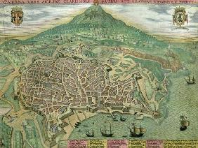 Map of Catania, from 'Civitates Orbis Terrarum' by Georg Braun (1541-1622) and Frans Hogenberg (1535