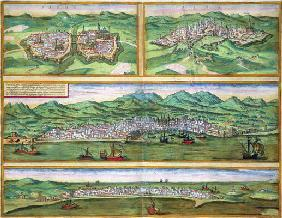 Map of Parma, Siena, Palermo, and Drepanum, from 'Civitates Orbis Terrarum' by Georg Braun (1541-162