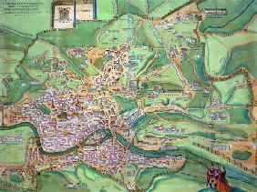 Map of Rome, from 'Civitates Orbis Terrarum' by Georg Braun (1541-1622) and Frans Hogenberg (1535-90