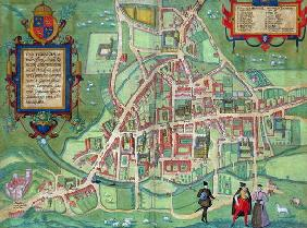 Map of Cambridge, from 'Civitates Orbis Terrarum' by Georg Braun (1541-1622) and Frans Hogenberg (15