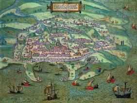 Map of Alexandria, from 'Civitates Orbis Terrarum' by Georg Braun (1541-1622) and Frans Hogenberg (1