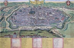 Map of Vienna, from 'Civitates Orbis Terrarum' by Georg Braun (1541-1622) and Frans Hogenberg (1535-