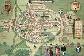 Map of Canterbury, from 'Civitates Orbis Terrarum' by Georg Braun (1541-1622) and Frans Hognenberg (