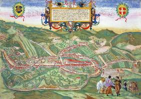 Map of Serravalle, from 'Civitates Orbis Terrarum' by Georg Braun (1541-1622) and Frans Hogenberg (1