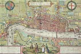 Map of London, from 'Civitates Orbis Terrarum' by Georg Braun (1542-1622) and Frans Hogenburg (1635-