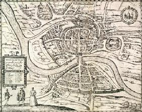 Map of Bristol, from 'Civitates Orbis Terrarum' by Georg Braun (1541-1622) and Frans Hogenberg (1535