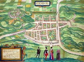 Map of Edinburgh, from 'Civitates Orbis Terrarum' by Georg Braun (1541-1622) and Frans Hogenberg (15
