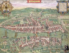 Map of Zurich, from 'Civitates Orbis Terrarum' by Georg Braun (1541-1622) and Frans Hogenberg (1535-
