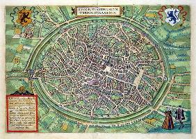 Town Plan of Bruges, from 'Civitates Orbis Terrarum' by Georg Braun (1541-1622) and Frans Hogenburg