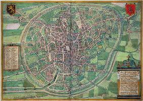 Town Plan of Brussels, from 'Civitates Orbis Terrarum' by Georg Braun (1542-1622) and Frans Hogenbur