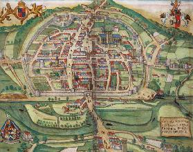 Map of Exeter, from 'Civitates Orbis Terrarum' by Georg Braun (1541-1622) and Frans Hogenberg (1535-