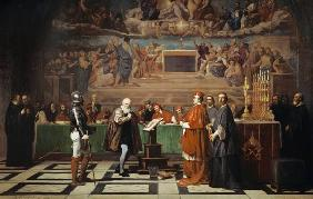 Galileo Galilei in front of the Inquisition in the Vatican 1632.