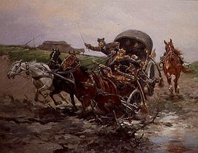 Troika journey in the Puszta.