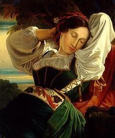 Sleeping young woman.