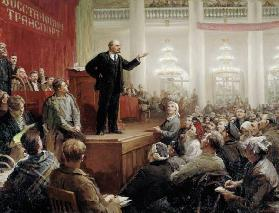 Lenin during a convention of the Russian transport workers