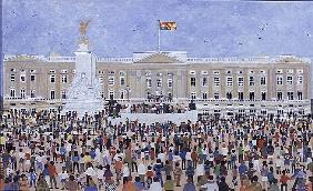 Crowds around the Palace, 1995 (w/c)