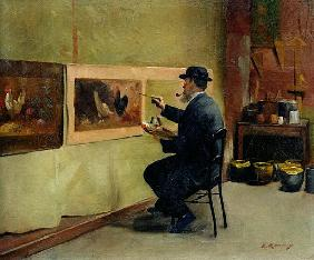 Charles Philippe Gevens, father-in-law of the artist, painting in his studio 21, avenue d''Eylau