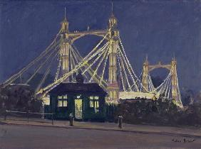 Albert Bridge - Night (oil on canvas)
