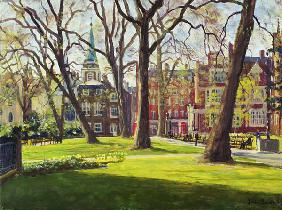 Mount Street Gardens, London (oil on canvas)