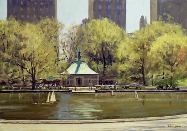 The Boating Lake, Central Park, New York, 1997 (oil on canvas)