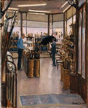 The Brolly Shop, Holborn (oil on canvas)