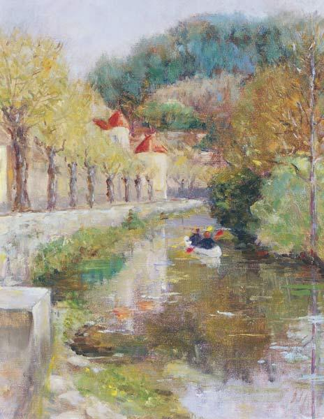 Canal at Noyers, Burgundy, 2002 (oil on canvas)