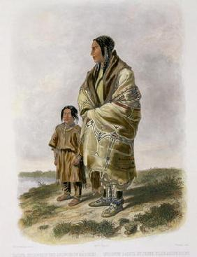 Dacota Woman and Assiniboin Girl, plate 9 from volume 2 of `Travels in the Interior of North America