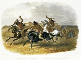 Horse Racing of Sioux Indians near Fort Pierre, plate 30 from Volume 1 of 'Travels in the Interior o