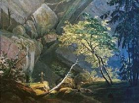 Rocklandscape with Monk