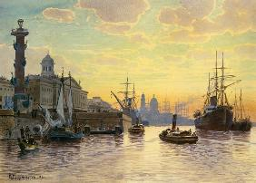Evening atmosphere over the Newa (saint Petersburg)