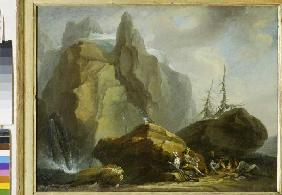 Mountainlandscape with resting Mountaineers and the Painter