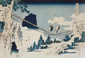 The Suspension Bridge Between Hida and Etchu (woodblock print)